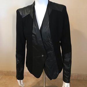 Gracia one button pleather trim jacket
